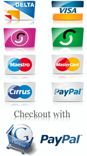 Secured by: Delta, Visa, Visa electron, Solo, Switch, Maestro, Mastercard, Paypal, Google