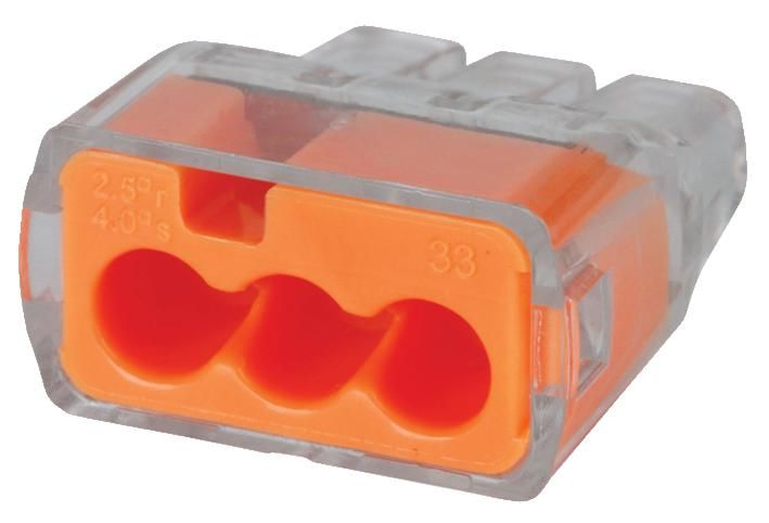 IDEAL 30-1033  3 Port Push In Connectors 100/Pack