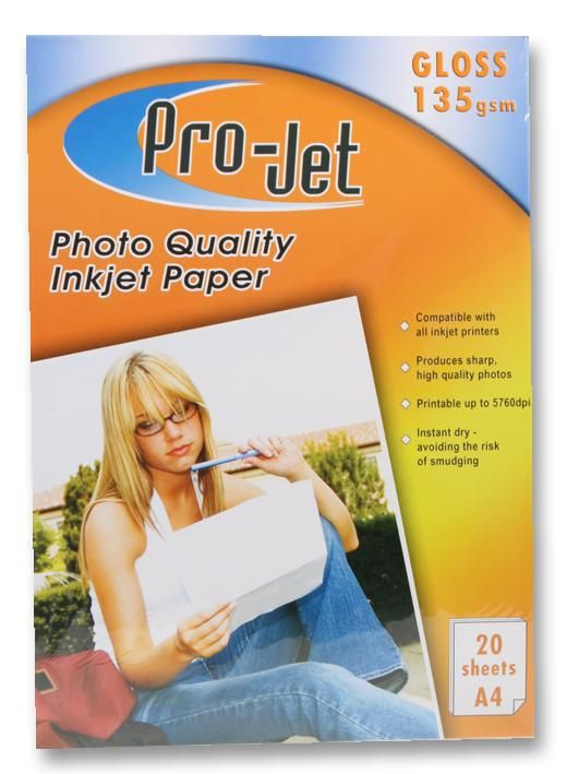 PROJET PROJET G13520  Paper Photo A4 Gloss 135G X20
