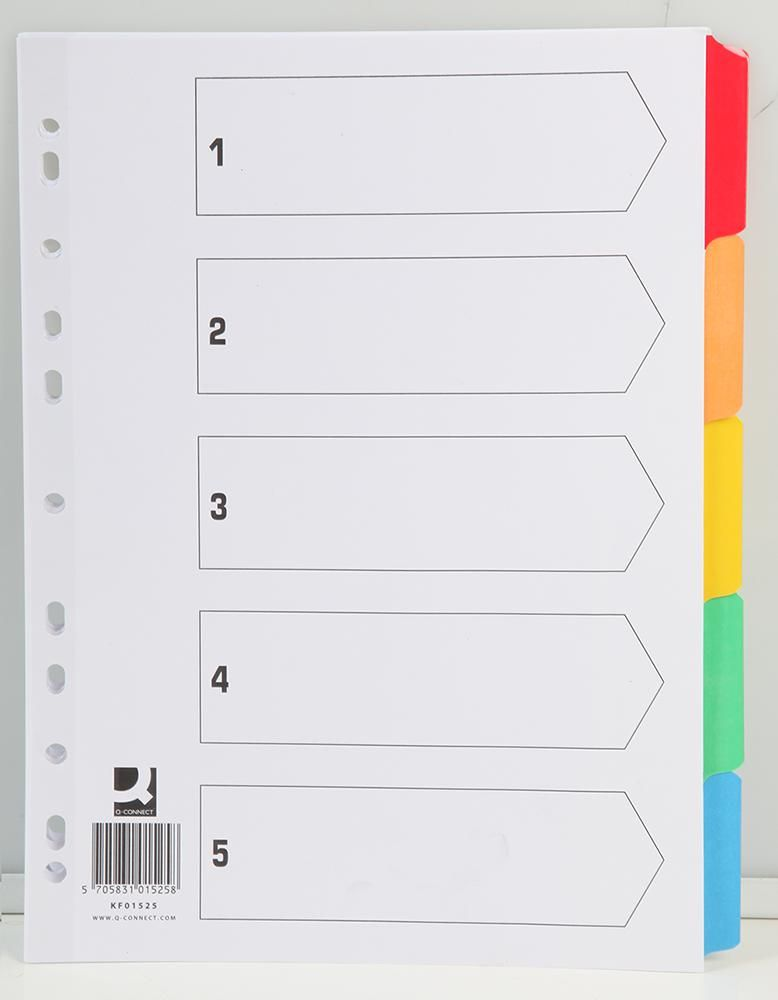 Q CONNECT KF01525  Multicolour Indices Blank (5 Part)