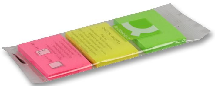 Q CONNECT KF01224  Pads Sticky 3Pk 40X50Mm Neon