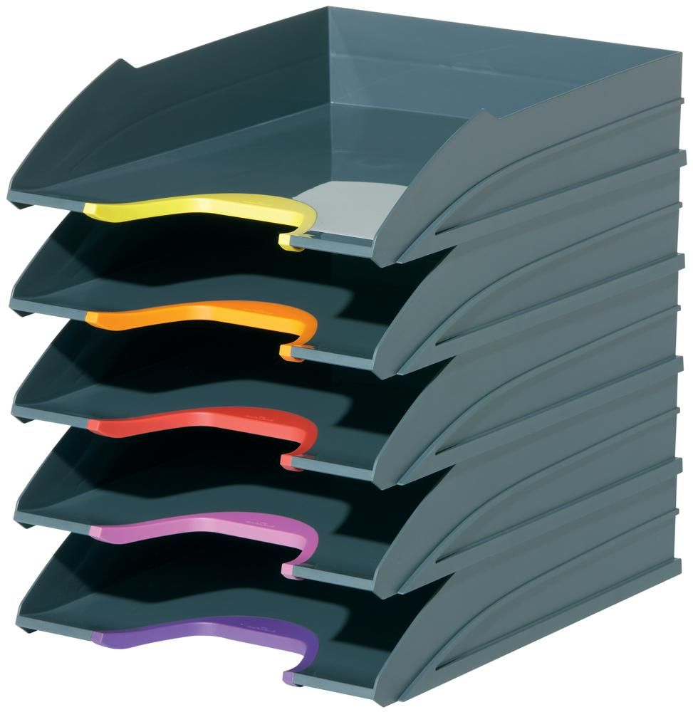 DURABLE OFFICE PRODUCTS 770557  Varicolor Letter Tray Set - 5 Trays