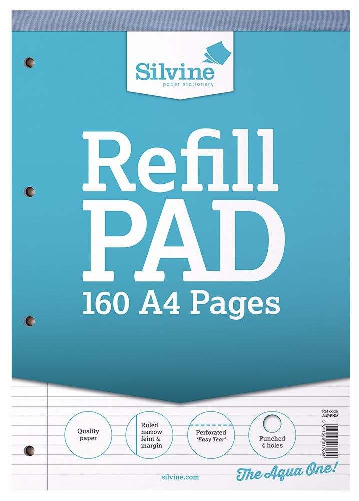 SILVINE A4RPNFM  A4 Refill Pad. Narrow Lines With Margin