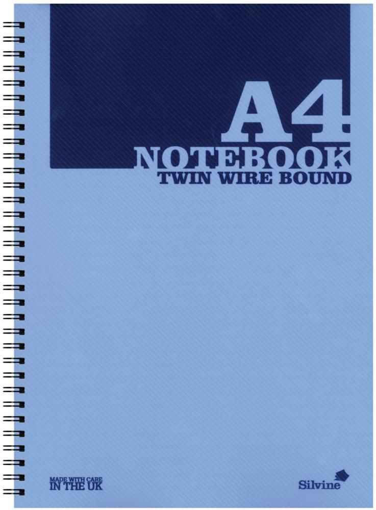 SILVINE POLYA4BLUE  A4 Twin Wire Notebook - Blue