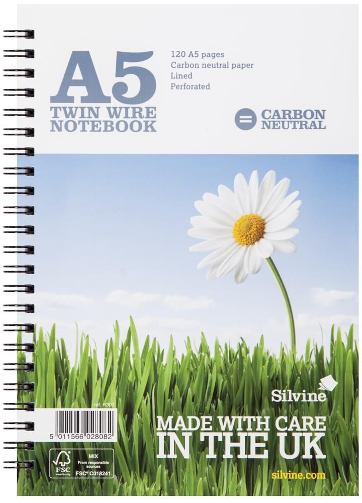 SILVINE R303  A5 Notebook Lined Carbon Neutral