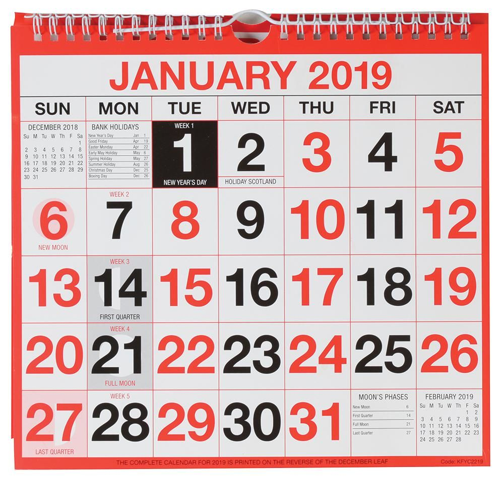 Q CONNECT KFYC2219  2019 Wiro Calendar Month To View