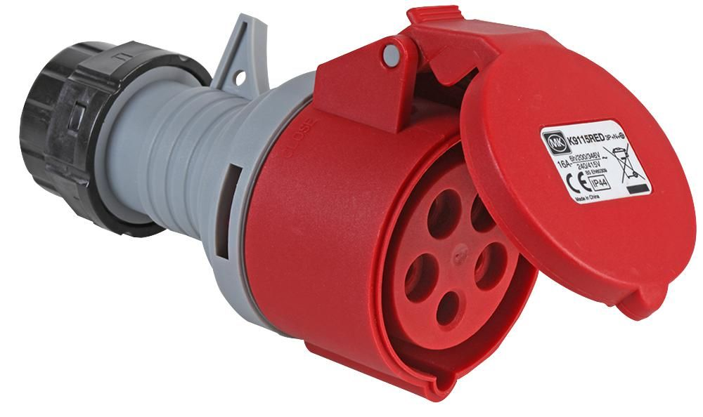 MK K9115RED  Connector 415V 16A 3P+N+E Ip44 Red